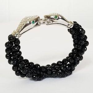 Sterling Snake Head Multi Strand Beaded Bracelet